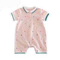 婴儿连体衣服夏季新款宝宝短袖爬服新生儿男女哈衣01岁外出服夏装