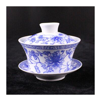 汉馨堂  茶杯 景德镇青花大盖碗 茶碗陶瓷功夫茶具三才碗杯敬茶碗泡茶壶茶杯