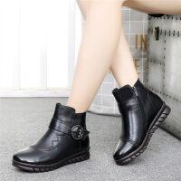妈妈鞋女保暖平底中老年人棉鞋滑老人皮鞋中年短靴子 黑色