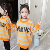 儿童卫衣 女童加绒加厚中长款卫衣2020冬季新款韩版卡通条纹上衣女童中大童长袖套头衫