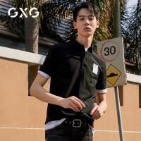 GXG男�b 2020年�豳u新款保�_衫港�L黑色短袖潮男POLO衫翻�I男士T恤