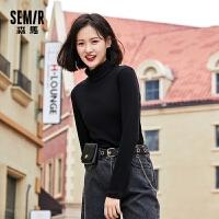 【直降价:36】森马长袖T恤女2021春季新款韩版内搭打底衫洋气修身堆领黑色上衣