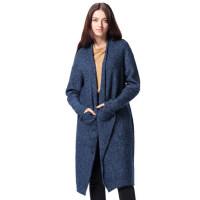 英伦针织衫 宽松开衫长袖中长款毛衣深蓝色大衣女加厚时尚外套
