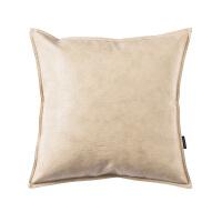 油蜡皮现代仿真皮抱枕沙发办公室pu皮质靠枕靠垫床头靠背 YL-01 米色
