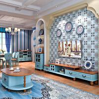 地中海创意电视柜 伸缩款地中海风格家具简约小户型客厅电视机柜套装 组装