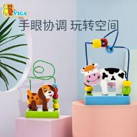 VIGA/唯嘉绕珠玩具1-2周岁婴儿宝宝早教益智串珠男孩女孩木制玩具
