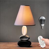 欧式台灯卧室床头创意 陶瓷简约现代温馨台灯