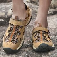 夏季户外越野跑鞋男真皮网面跑步鞋男士运动鞋透气徒步鞋