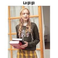 【清仓3折价188.7】Lagogo/拉谷谷预售2019新款撞色字母刺绣文艺针织衫女HCMM41XG49