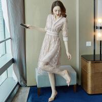 蕾丝连衣裙春装2019新款女名媛气质显瘦法国小众很仙的复古裙夏季