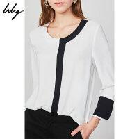 Lily春新款女装复古气质简约撞色宽松雪纺衫白色套头衫8975