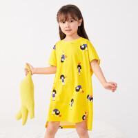 【秒杀价:122元】马拉丁童装女大童家居服2020夏装新款图案舒适柔软短袖连衣裙睡衣