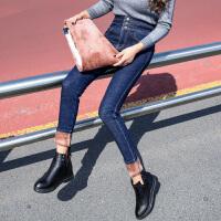 安妮纯高腰牛仔裤女冬装2019新款显瘦裤子弹力修身小脚长裤子