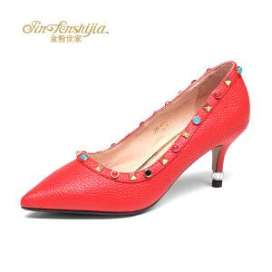 红蜻蜓旗下品牌金粉世家女鞋秋冬休闲鞋鞋子女高跟鞋JZB7011