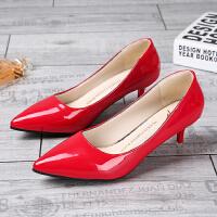 3-5厘米高跟鞋女中跟细跟红色婚鞋职业2017新款工作鞋百搭小皮鞋