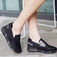 休闲运动鞋新款低帮时尚女学生网布圆头中跟内增高松糕底