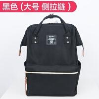 日本双肩包男女大容量电脑包背包日韩学生书包情侣旅行包 黑色 大号