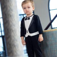 davebella戴维贝拉2020春装新款男宝婴幼儿小绅士连体衣DB13105
