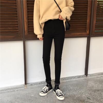 加绒牛仔裤女冬季2019新款韩版高腰紧身黑色小脚裤百搭铅笔裤长裤 黑色  由于快递停运,店铺于1月25日至2月13日放假,期间产生的订单将于2月15号前发