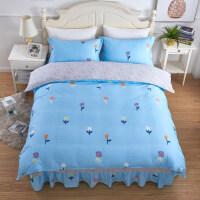 床罩床裙四件套全棉纯棉床上用品 公主风被套 荷叶边裙式欧式花边