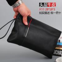 新款手包男真皮韩版大容量手拿包男休闲商务头层软牛皮拎包信封包 黑色