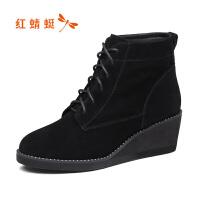 红蜻蜓女鞋冬季新款圆头系带女单鞋舒适真皮坡跟高帮鞋子女