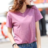 竹节棉t恤女纯色棉短袖宽松百搭半袖女士打底上衣韩版显瘦夏季