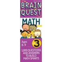 现货 大脑任务 三年* 数学 8-9岁卡片书 新版 英文原版 Brain Quest Grade 3 Math 认知智