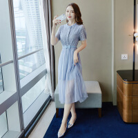 蕾丝连衣裙女春秋2019新款女装春装森系甜美超仙长裙仙女裙子夏季 蓝色