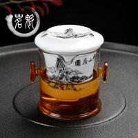 茶泡茶器 双耳杯壶泡茶器 陶瓷功夫花茶茶具