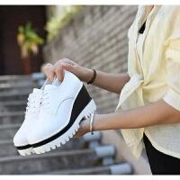 厚底女内增高黑色皮鞋时尚真皮单鞋2018秋冬女系带高跟松糕鞋坡跟