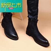 新品上市韩版加棉保暖秋冬男增高皮靴子中帮户外子型师潮靴高帮皮鞋