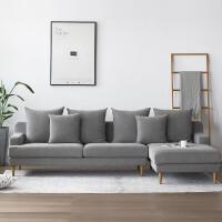 三人位左右贵妃布艺沙发 布艺沙发北欧现代简约客厅整装小户型家具贵妃组合灰色位沙发 摩登灰 +贵妃