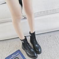 W平底袜靴女2019秋新款ins马丁靴英伦风尖头短筒靴ulzzang