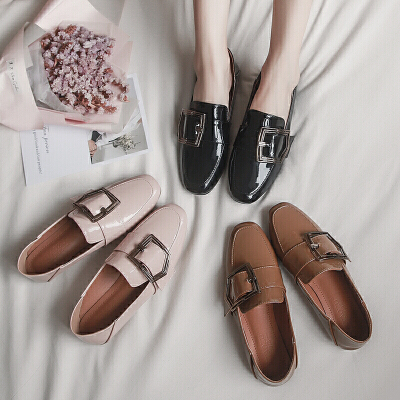 平底鞋女2018新款网红同款一脚蹬懒人鞋百搭两穿小皮鞋豆豆鞋女