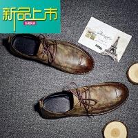 新品上市男士休闲鞋青春潮流皮鞋英伦男鞋百搭鞋子秋季韩版复古鞋18新款