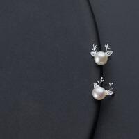 女小清新镶钻鹿角人工珍珠可爱耳饰品s925银耳钉