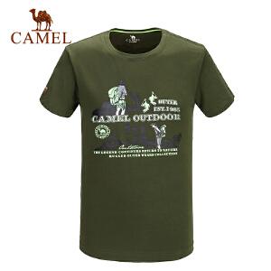 camel骆驼户外男款短袖T恤 春夏休闲圆领徒步简约T恤