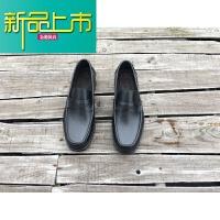 新品上市固异手工男皮鞋一脚蹬圆头套脚休闲男鞋真皮底手工定制鞋 黑色