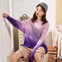 【2件2.5折】唐狮2019春新款针织衫女很仙的上衣短款渐变薄款宽松镂空套头毛衣
