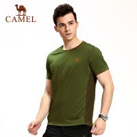 camel骆驼户外男款速干圆领T恤 透气速干男士短袖T恤