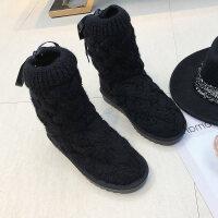韩版冬季新款针织毛线平底雪地靴加绒加厚女鞋蝴蝶结学生棉鞋短靴