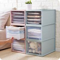 可叠加塑料收纳箱抽屉式多层衣物收纳盒衣柜衣服整理箱玩具储物箱