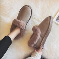 棉鞋女冬季加厚加绒一脚蹬学生韩版百搭豆豆雪地靴2018新款面包