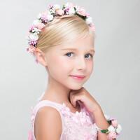 女童花童花环儿童发饰白色公主婚纱头饰大花礼服配饰演出婚礼