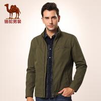 骆驼男装 新款立领散口袖夹克外套 拉链修身夹克衫 男