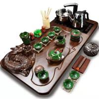 功夫茶具套装全套自动电热磁炉套装龙凤冰裂盘龙四合一套装送桶功夫茶具套装