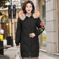 中老年女装2018新款冬季羽绒中年妈妈冬装棉袄中长款棉衣外套 XL 建议95-115斤