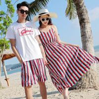 沙滩情侣装夏海边度假套装雪纺连衣裙旅游蜜月短袖女情侣套装 图片色
