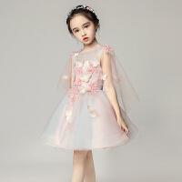 儿童礼服公主裙粉色女童晚礼服婚纱蓬蓬纱主持人演出服小花童裙子